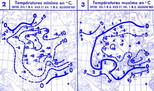 temperatures du 12 janvier 1945
