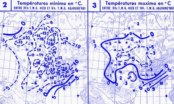 temperatures du 13 janvier 1945