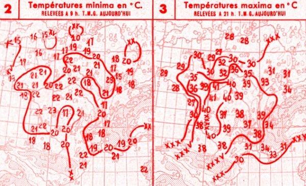 temperatures du 27 juillet 1947