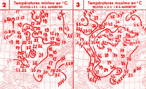 temperatures du 28 juillet 1947