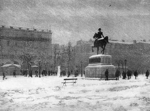 place du Gouvernement sous la neige a Alger le 19 janvier 1895