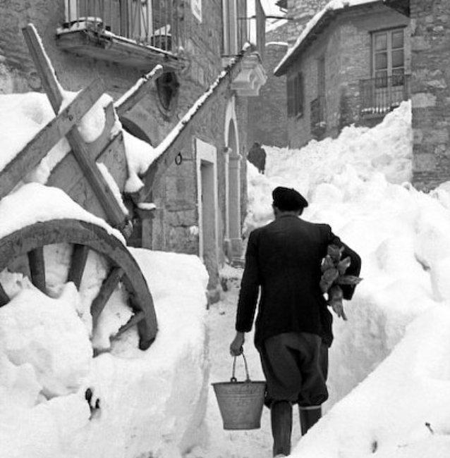 neige en Italie en fevrier 1956