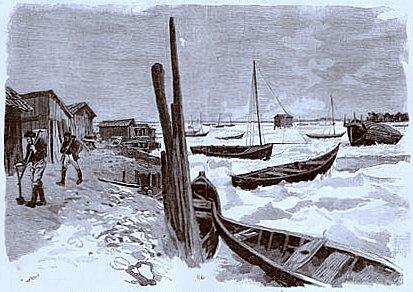bassin d`Arcachon gele en janvier 1891