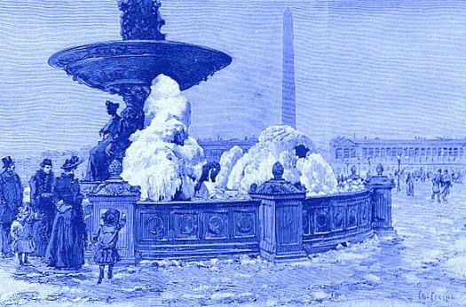 fontaine de la place de la Concorde gelees en decembre 1890