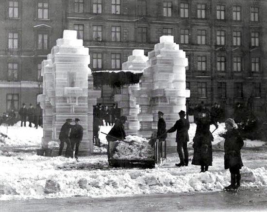 sculpture de glace à Copenhague durant l`hiver 1895