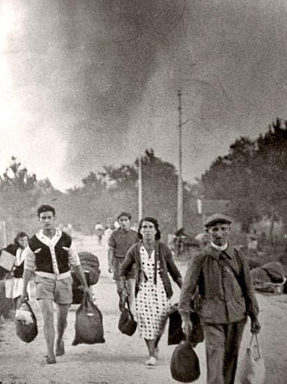 fuite devant les feux dans les Landes ete 1949