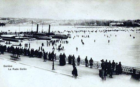 la rade de Geneve gelee en janvier 1891
