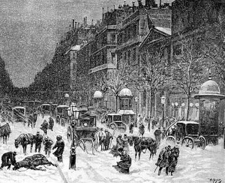 neige sur Montmartre en 1881