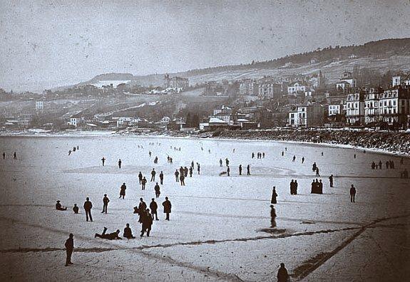 lac de Neuchatel gele pendant l`hiver 1879 1880