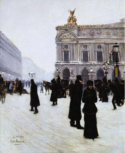 parisiens transis de foid place de l`Opera pendant la vague de froid de decembre 1879