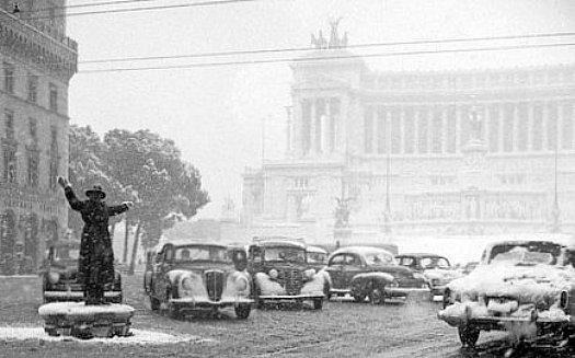 neige a Rome en fevrier 1956