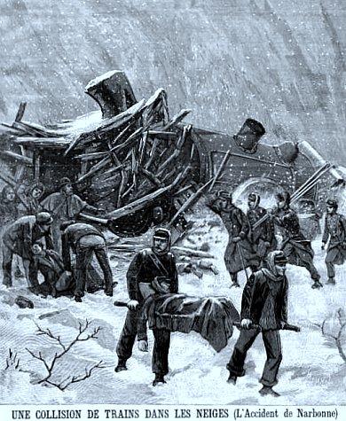 accident de train dans la neige pres de Narbonne en janvier 1893