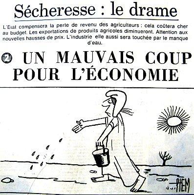 article sur les conséquences economiques de la secheresse juillet 1976