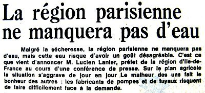 article sur l`approvisionnement en eau de Paris début juillet 76