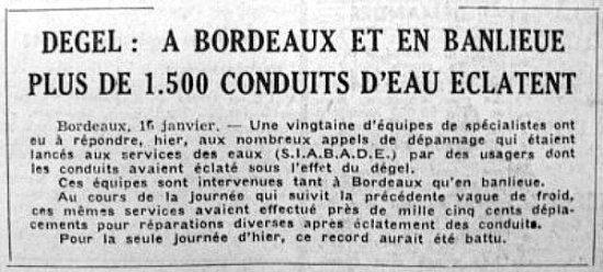 article sur les fuites d`eau après le redoux début janvier 63