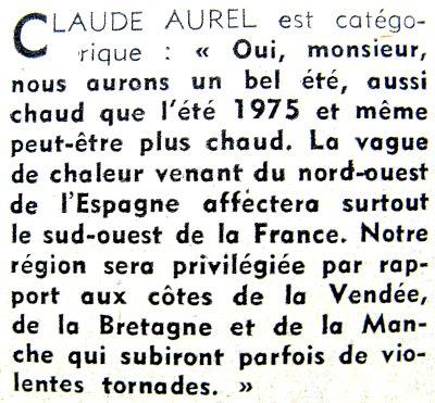 article previsions de claude aurel mai 1976
