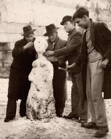 bonhomme de neige en Italie 1956