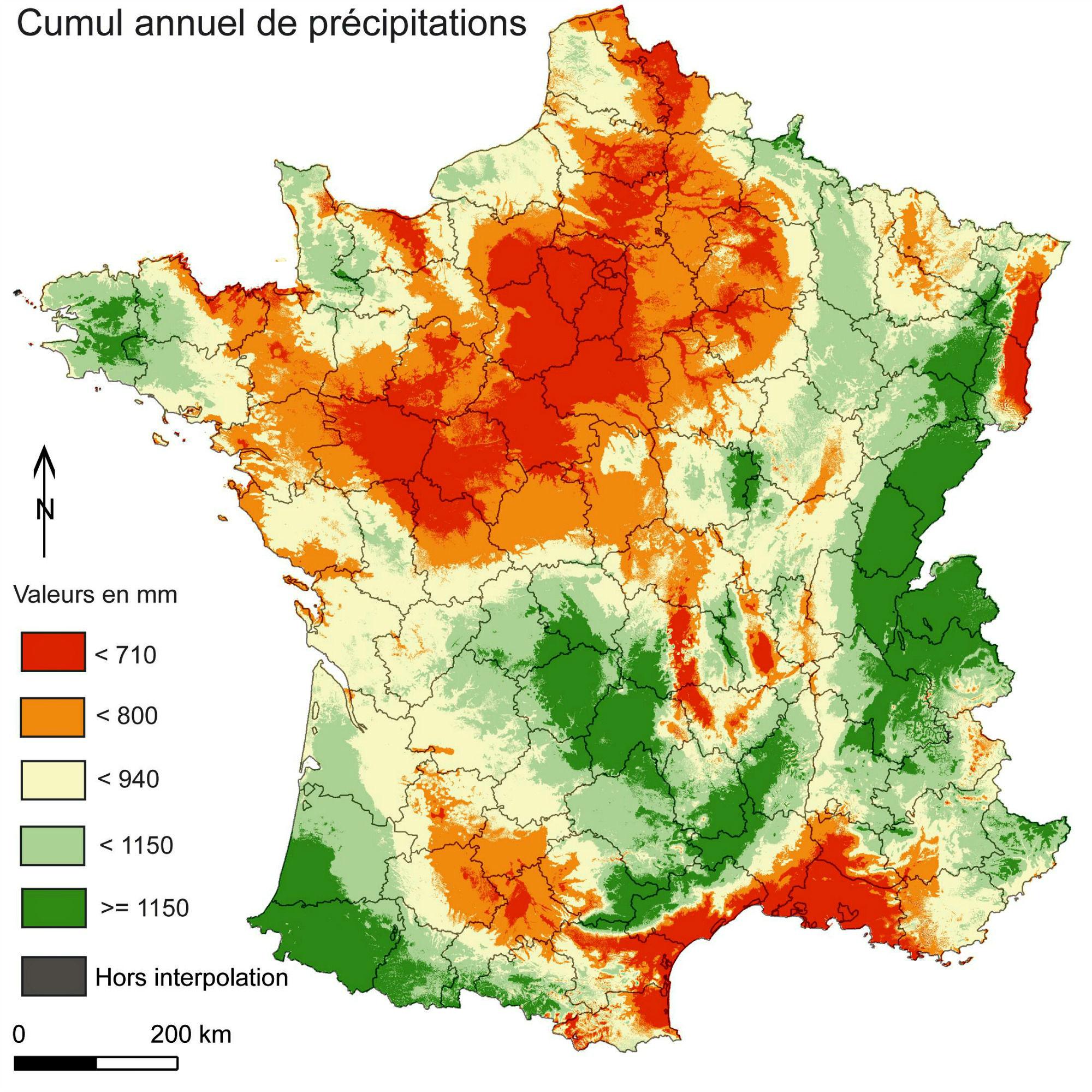 cumul annuel des précipitations en France