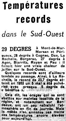 article sur les premieres chaleurs debut mai 1976