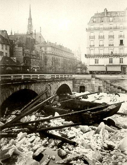 debacle de la Seine au pont Saint Michel le 3 janvier 1880 apres la vague de froid de decembre 1879