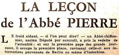 article sur l`Abbe Pierre en fevrier 1954