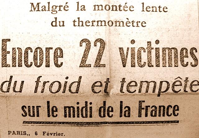 entete victimes du mauvais temps dans le sud en fevrier 1954