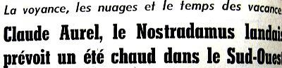 entête d`article sur claude AUREL mai 1976
