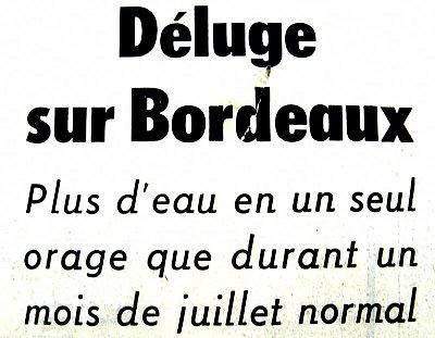 entete sur l`orage bordelais du 4 juillet 1976
