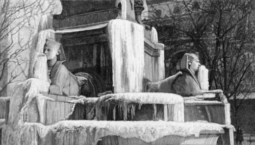 fontaine du Chatelet gelee pendant l`hiver 1893