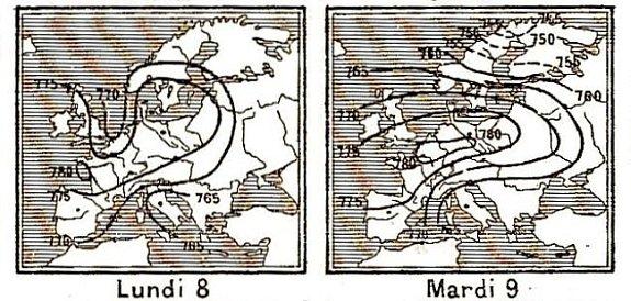 isobares des 8 et 9 decembre 1879