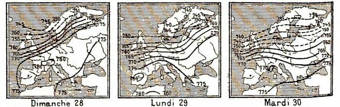 isobares du 28 au 30 decembre 1879