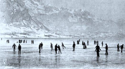 le lac d`Annecy gele durant l`hiver 1891
