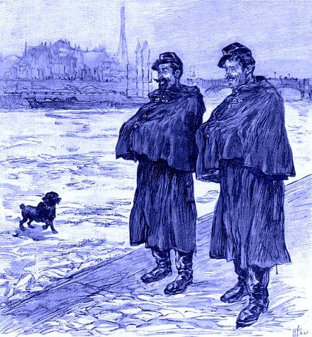 agent de police surveillant la Seine gelee en 1895