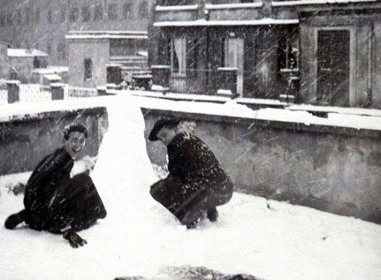 chute de neige Rome 1956