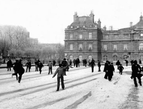 patineurs des jardins du Luxembourg en 1895