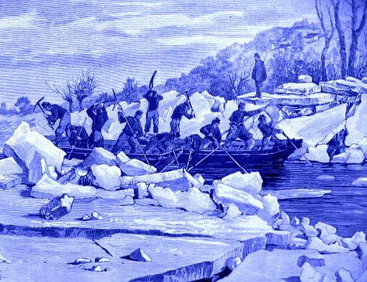 pontonniers ouvrant un chenal en Loire decembre 1879