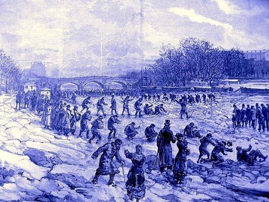 parisiens en promenade sur les quais de Seine decembre 1879