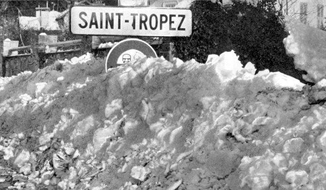neige a Saint Tropez en fevrier 1956