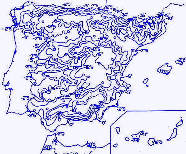 temperatures minimales Espagne fevrier 1956