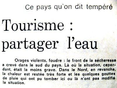 entete sur le tourisme et l`eau ete 1976