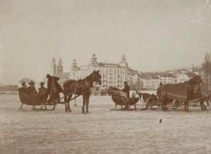 traineaux sur le lac de Zurich gele en 1891